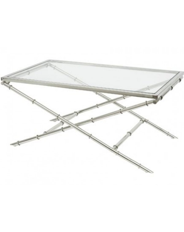 Bamboo Steel Coffee Table With Toughened Glass To...